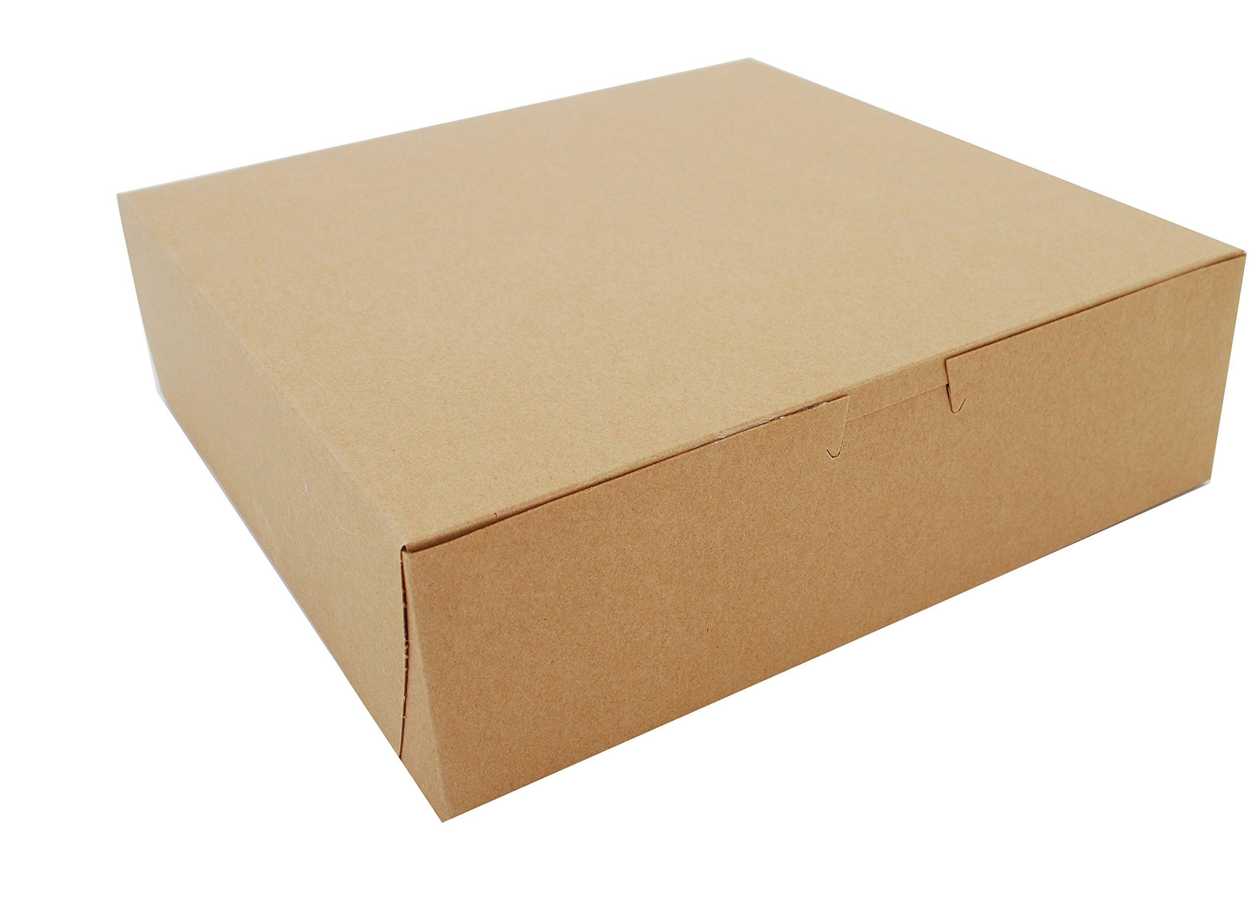 Southern Champion Tray 0971K Kraft Paperboard Non Window Lock Corner Bakery Box, 10'' Length x 10'' Width x 3'' Height (Case of 200)