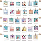 BIZYAC Photo Display Instant Wall Hanging String with Clips Picture Frames - 3M Self Adhesive - No Holes Drilling - 30 x…