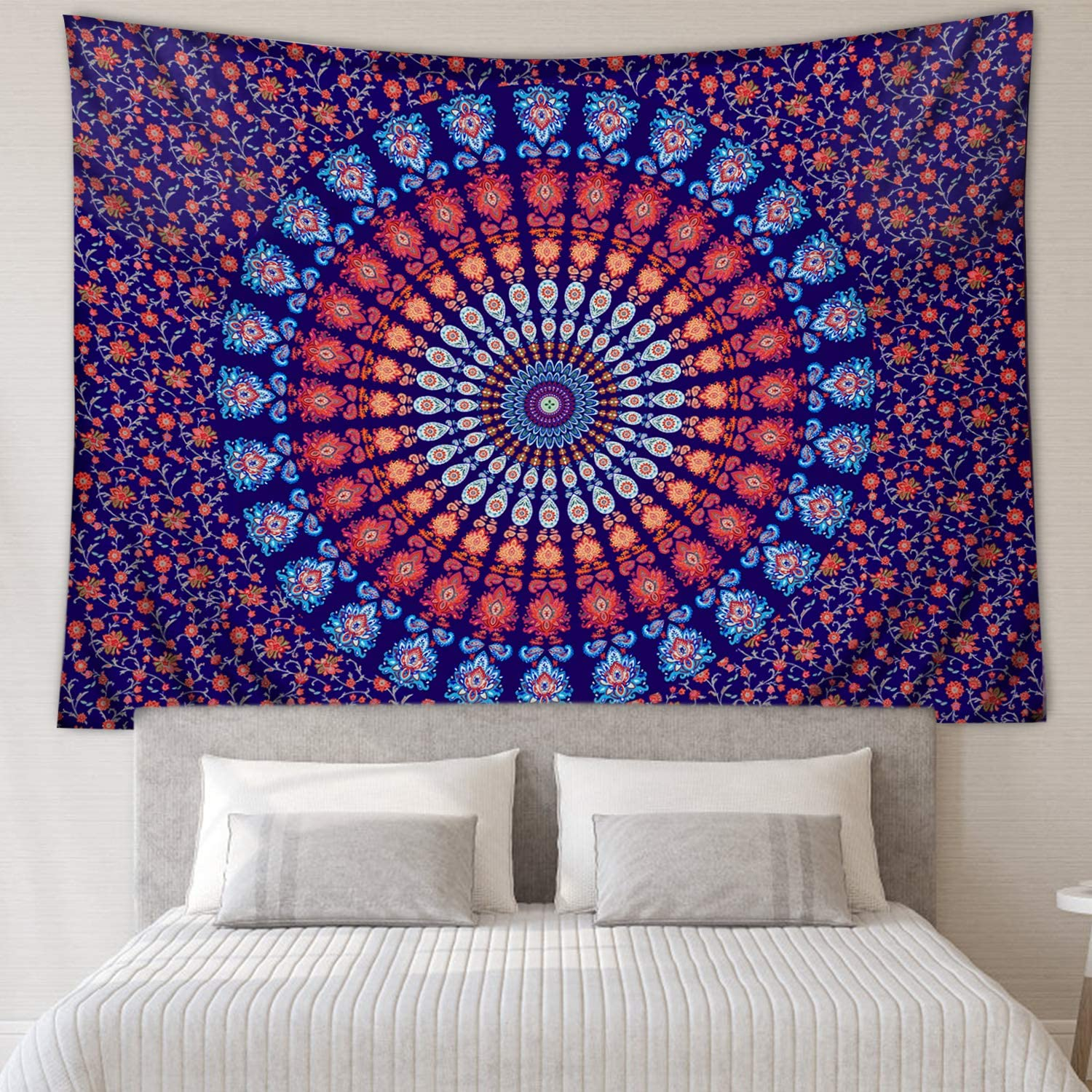 Amazon Com Zeronal Mandala Tapestry 59 X 79 Indian Hippie Bohemian Psychedelic Peacock Wall Hanging For Bedroom Living Room Wall Decor Purple Blue Everything Else