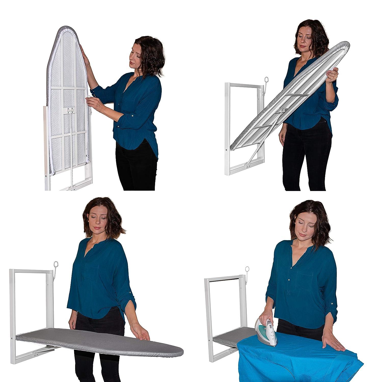 Ahorro de espacio con cubierta de tela de algod/ón Blanco y azul Tabla de planchar montada en la pared Xabitat Tabla de planchar plegable de montaje compacto para espacios peque/ños
