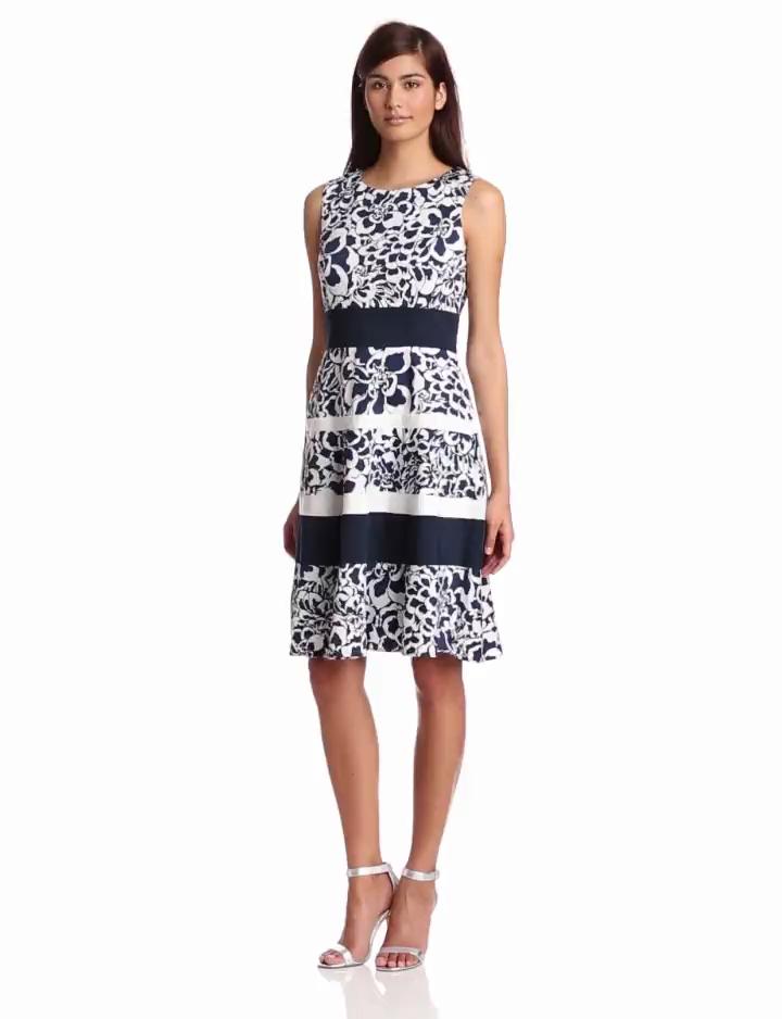 Anne Klein Womens Printed Stripe Dress, Chalk/Navy, 2