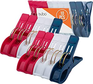 Beach Chair Towel Clips Clamps – 10 Pack Pool Towel Holder and Large Plastic Clamp – Red, White and Blue Jumbo Clothespins and Towel Pegs – Heavy Duty Clips for Laundry, Beach, Pool or Cruise Ships
