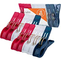 Beach Chair Towel Clips Clamps – 10 Pack Pool Towel Holder and Large Plastic Clamp – Red, White and Blue Jumbo…