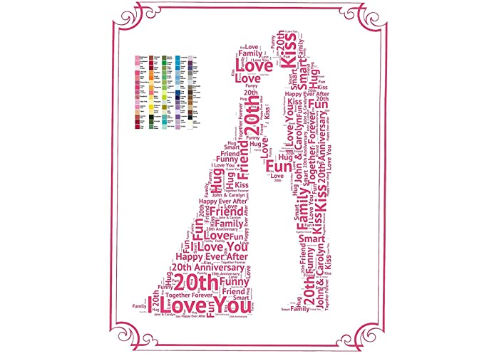 20th Anniversary Gifts, 20th Wedding Anniversary Gift Ideas, 20, Twenty, Gifts, Keepsake, Personalized, Gift for Her, Gift for Him, 8 x 10 Anniversary Print ...