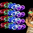 TURNMEON 20 Pack LED Glasses,5 Color Light Up Glasses Shutter Shades Glow Sticks Glasses Led Party Sunglasses Adult Kids Glow in The Dark Mardi Gras Party Supplies Favors Birthday Neon Party Glow Toys