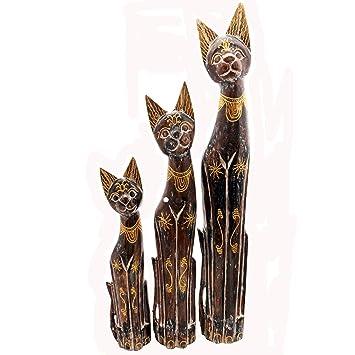 Gall&Zick Madera Figura Decoración Gato Bali Decoración Jardín Casa Estatua Animales Diseño de Animales Gato Amantes