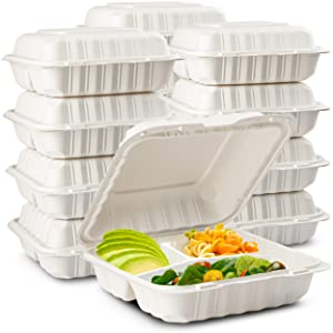 Eco-Friendly Meal Prep Containers 3 Compartment [50-Pack 8x8x3