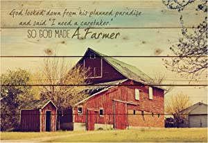 P. Graham Dunn So God Made a Farmer Old Red Barn 25 x 36 Wood Pallet Wall Art Sign Plaque