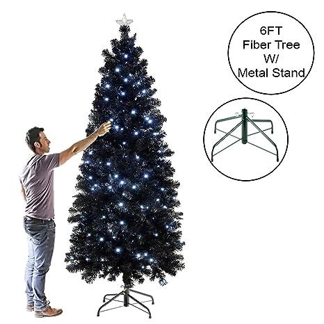 new arrival cf077 ccc57 LUXURY PRE LIT PENCIL SLIM BLACK CHRISTMAS TREE W/ WHITE BLUE 80 TO 200 LED  LIGHTS FIBER OPTIC TREE WITH STAR AT TOP (6ft Black Slim Tree)