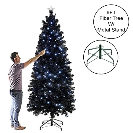 Luxury Pre Lit Pencil Slim Black Christmas Tree W White Blue 80 To