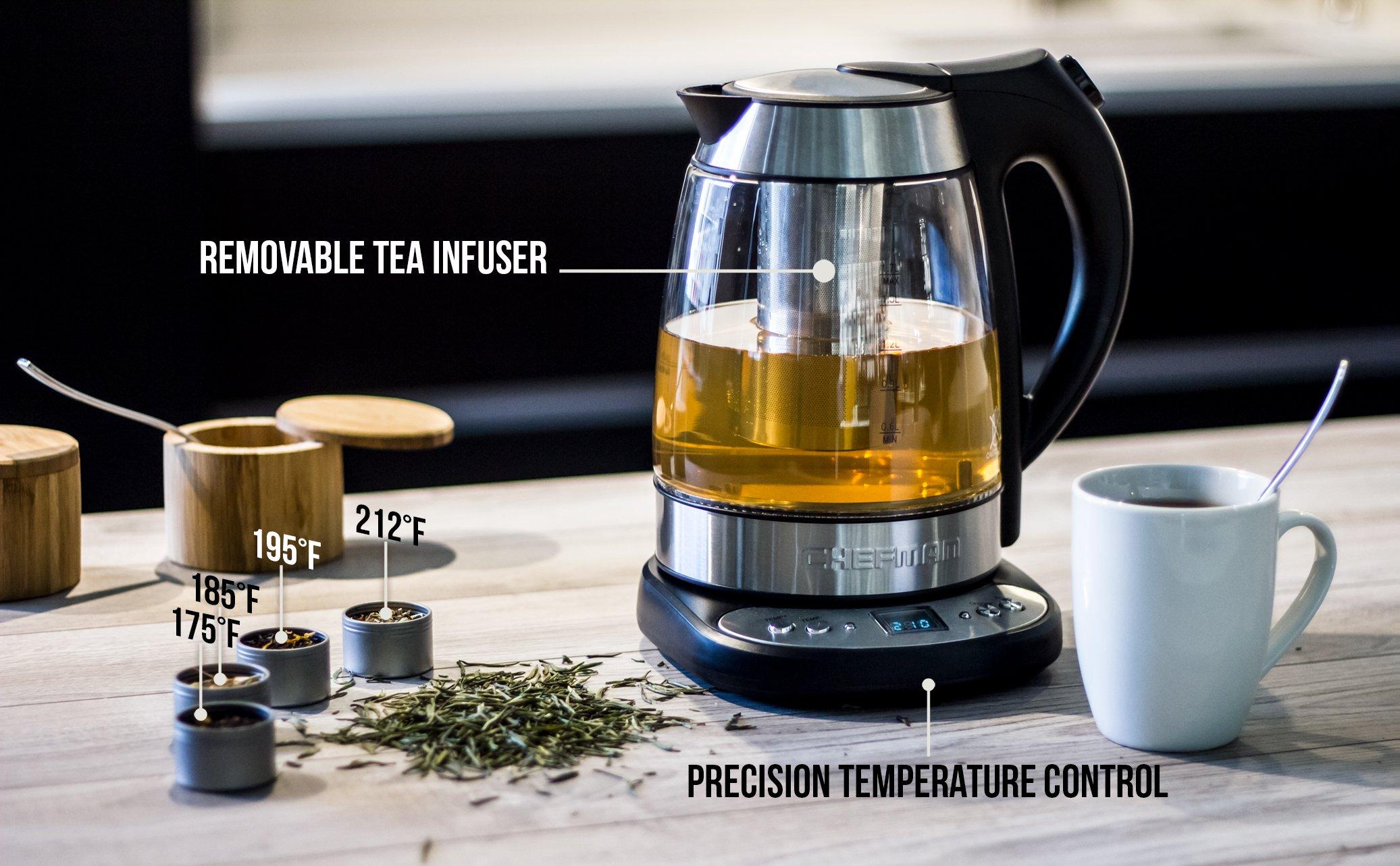 chefman electric glass digital tea kettle with free tea infuser built in 856432005065 ebay. Black Bedroom Furniture Sets. Home Design Ideas
