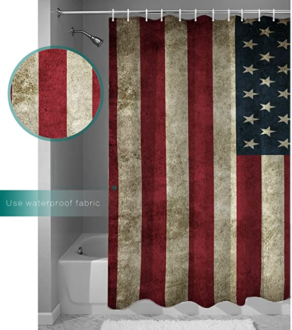 Vintage Shower Curtain American Flag Football Print for Bathroom