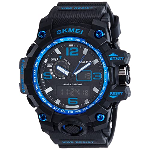 SKMEI Mens SK1155C Multifunctional Outdoor Sports Dual Time Analog Digital Wrist Watch Blue