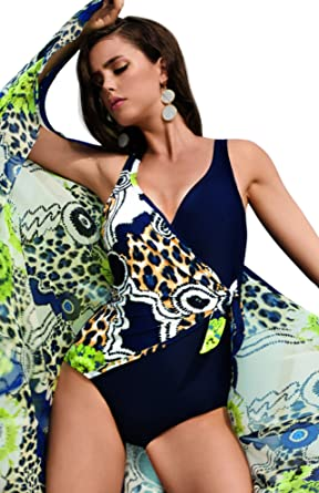 50a9319e226 David Solution Tummy Control Swimsuit in Bold Animal Print and Navy  Contrast, UK 22: Amazon.co.uk: Clothing