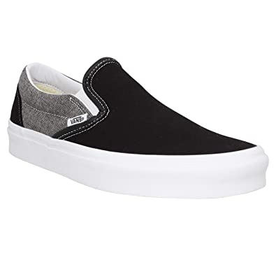 be61fb2d13 Vans Mens U Clasic Slip ON Chambray Canvas Black True WHT Size 4.5