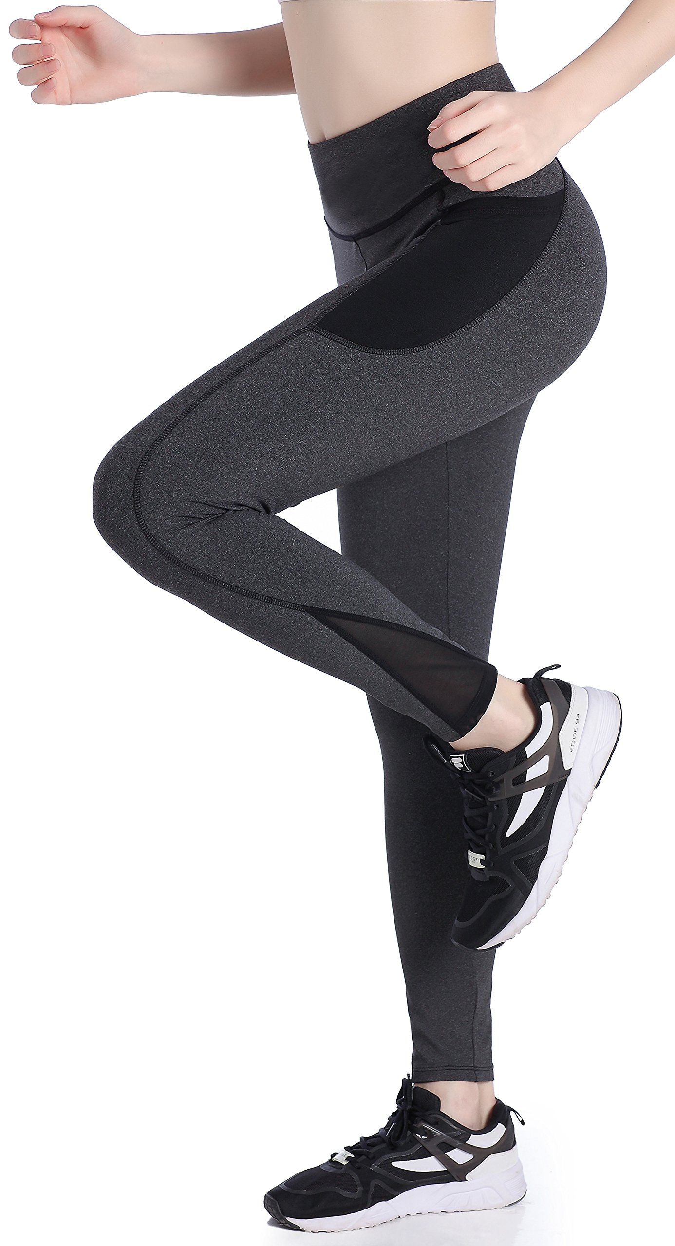 Picotee Women's High Waist Capri Workout Yoga Pants Running Tights Active Leggings w Side Pocket (L, Deep Grey Pants)