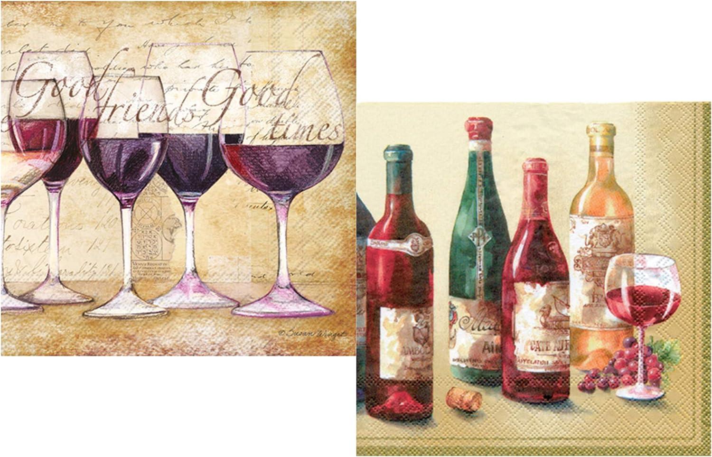 Wine Themed Cocktail Beverage Napkins Pack - Bundle Includes 40 Total Paper Napkins in 2 Designs