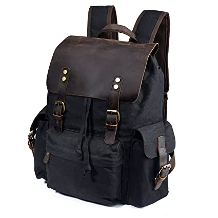 b93380e686b1 Vintage Oil Wax Canvas Leather Backpack Leisure Rucksack 15.6 quot   Waterproof Travel Bag for Men