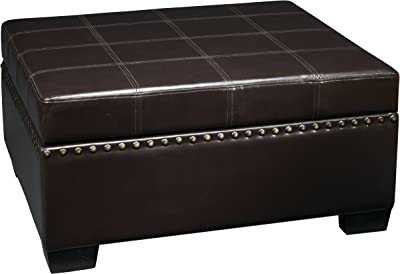 Ave Six Detour Multipurpose Storage Ottoman with Tray in Eco Leather Fabric, Espresso