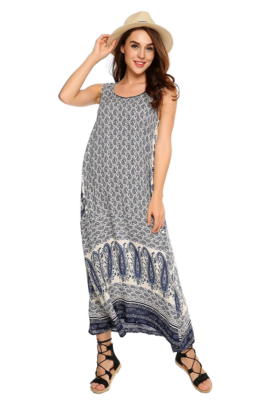 ACEVOG Women Floral Print Sleeveless Tunic Tank Top Loose Long Maxi Casual Dress