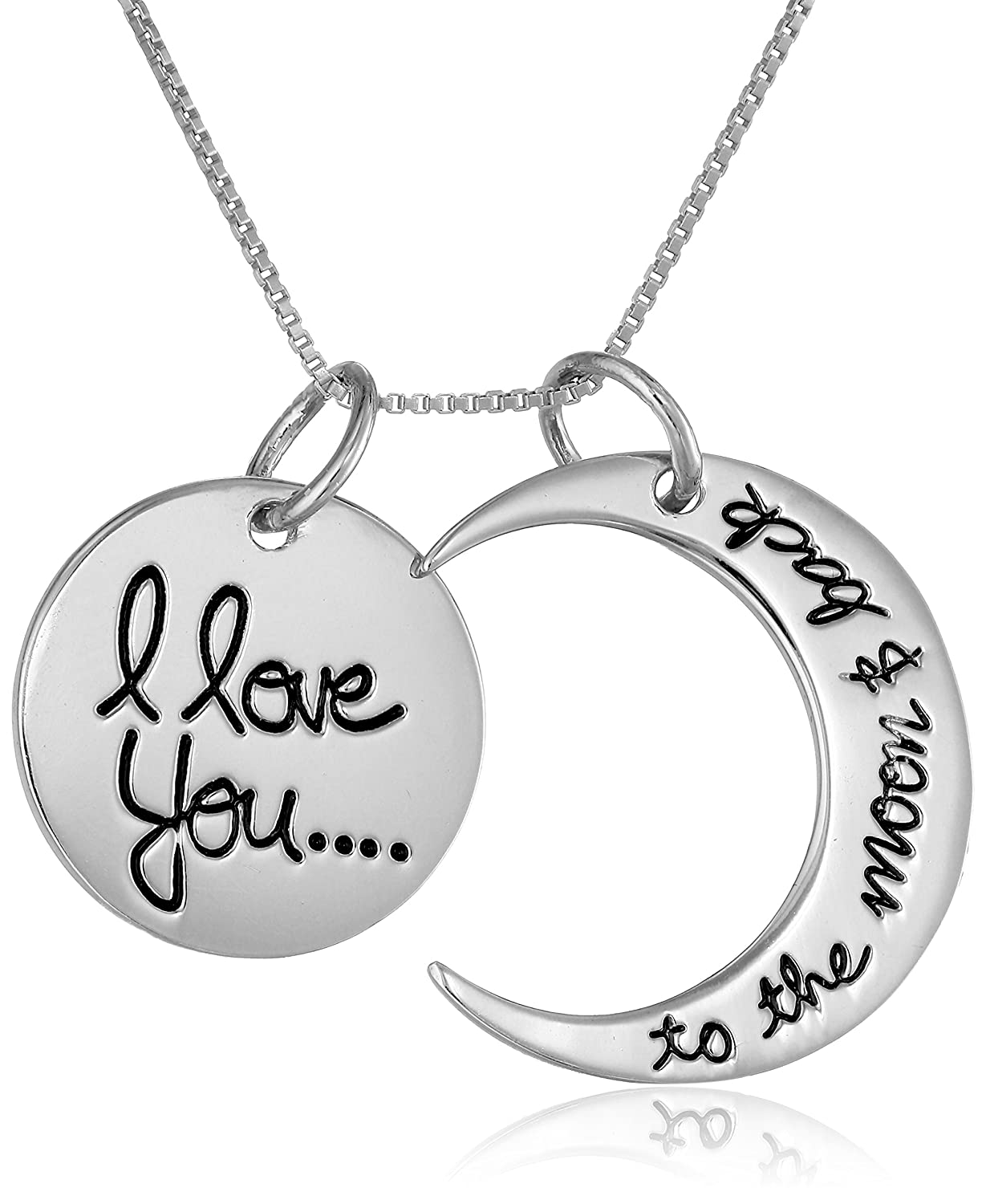 I love you to the moon and back engraved necklace silver