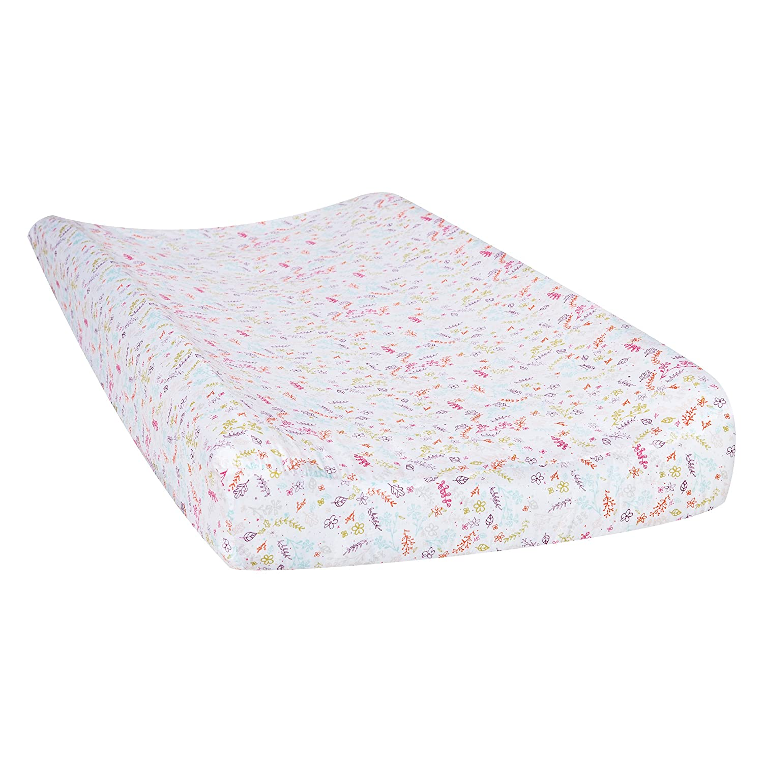 Trend Lab Wild Forever Floral Changing Pad Cover, White/Pink 102470