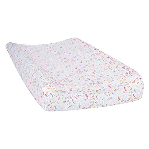 Amazon.com: Trend Lab Wild Forever Floral Changing Pad Cover, White/Pink: Baby