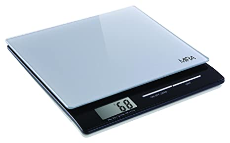 Mira Digital Easy To Use Kitchen Food Scale Portable Lightweight Slim Food Scale Measures Grams Pounds Ounces Glass Platform Multifunction Scale