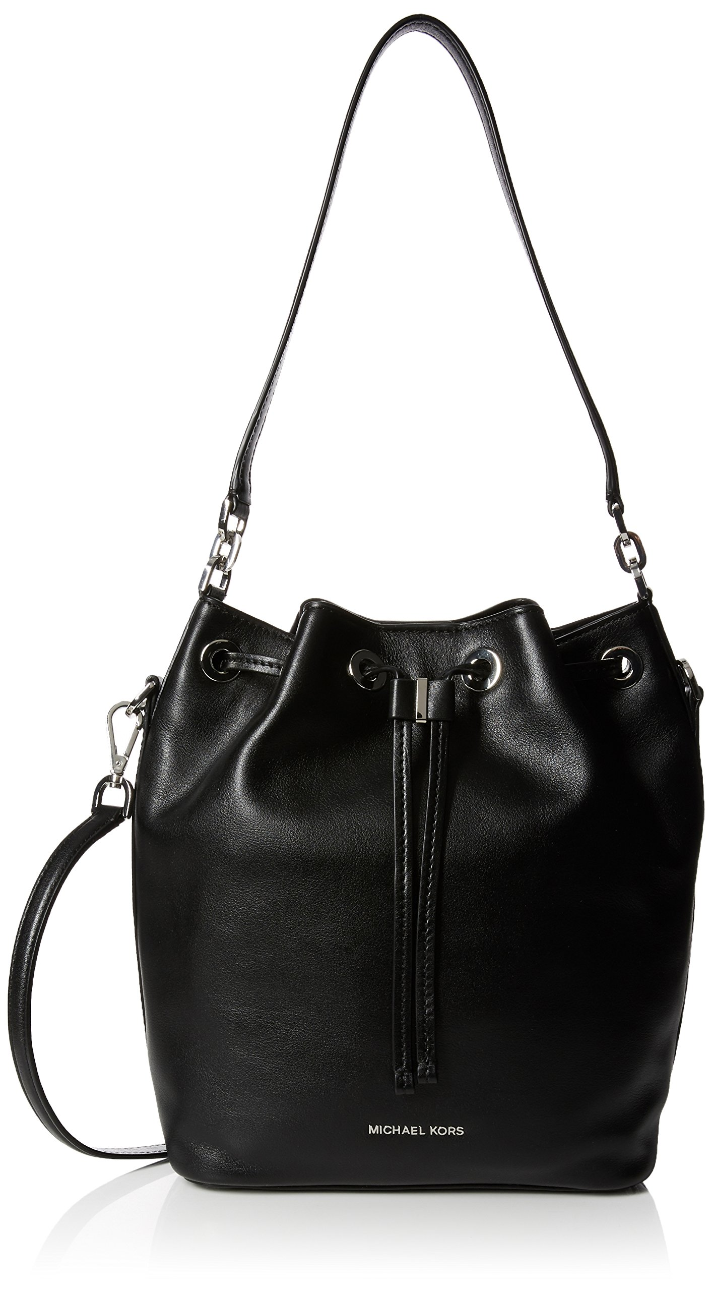 Michael Kors Womens Dottie Leather Convertible Bucket Handbag Black Large by Michael Kors