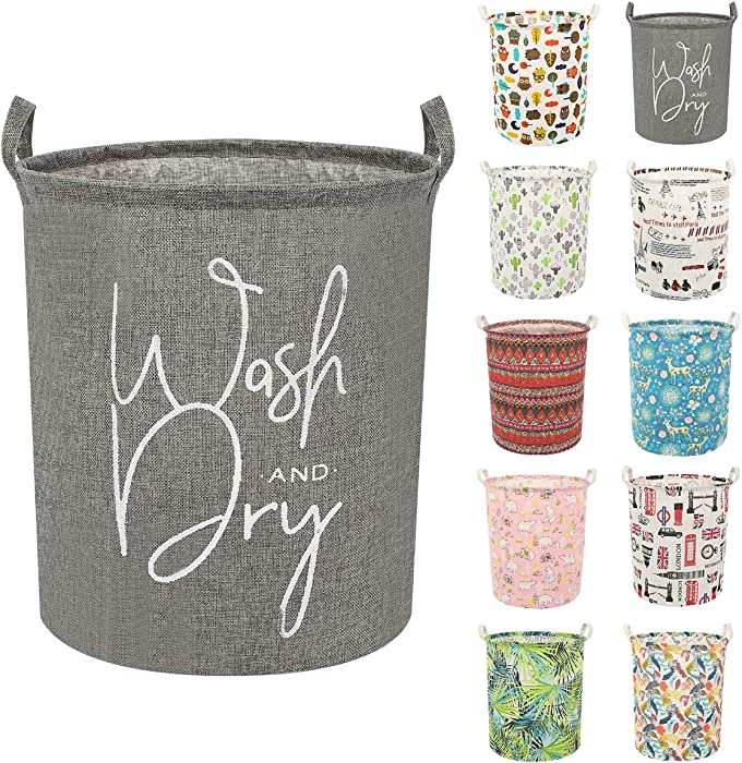 Clothes Laundry Hamper Storage Bin Large Collapsible Storage Basket Kids Canvas Laundry Basket for Home Bedroom Nursery Room (Y-Wash Dry, L)