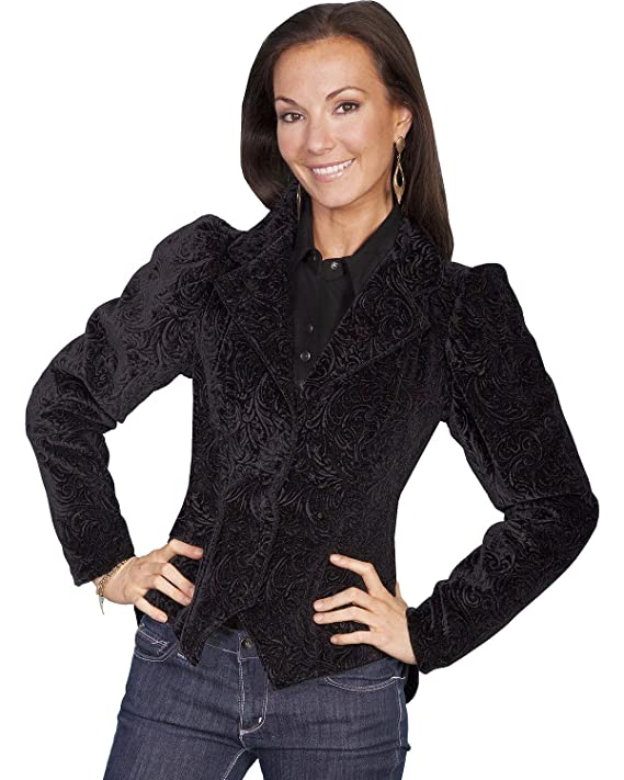 Steampunk Jacket | Steampunk Coat, Overcoat, Cape Scully Wahmaker Womens Embossed Velvet Coat $209.00 AT vintagedancer.com