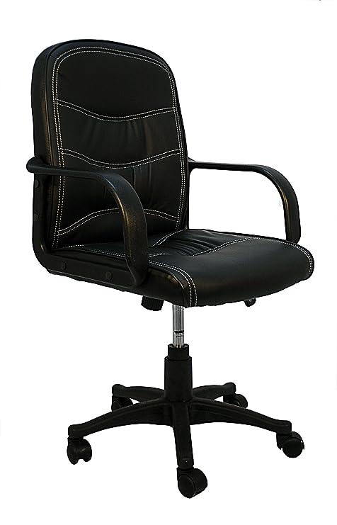La Silla Española León Silla de Oficina y Despacho, Piel Sintética, Negro, 55x57x96 cm