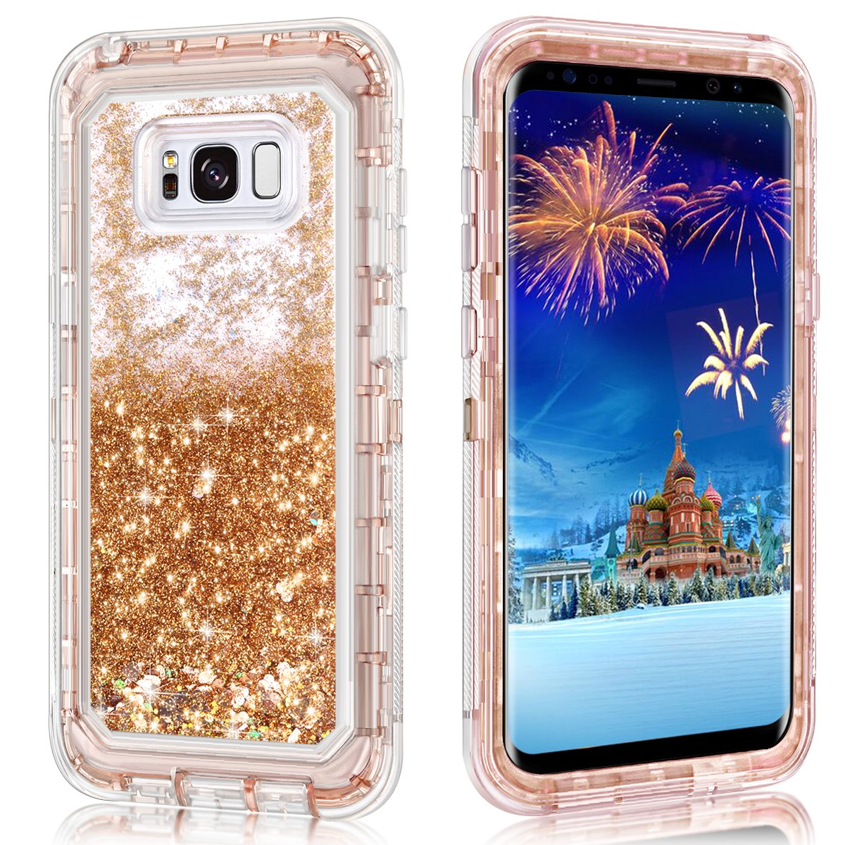 promo code a0233 155b5 Galaxy S8 Plus Case,Wollony 360 Full Body Shockproof Liquid Glitter  Quicksand Bling Case Heavy Duty Phone Bumper Soft Non-Slip Clear Rubber  Protective ...