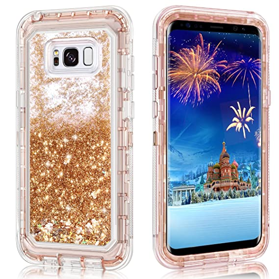 promo code b9dda 0f225 Galaxy S8 Plus Case,Wollony 360 Full Body Shockproof Liquid Glitter  Quicksand Bling Case Heavy Duty Phone Bumper Soft Non-Slip Clear Rubber  Protective ...