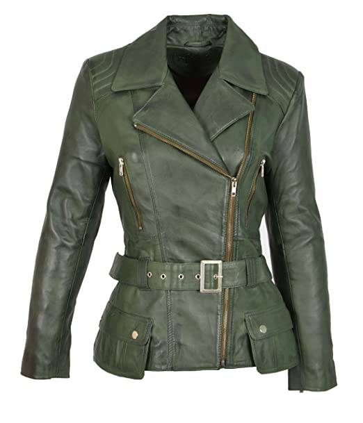 on sale 3b1e6 f2a5b House Of Leather Giacca in Pelle Verde Donna Attrezzato Lunghezza Dell'anca  Vita con Cintura Stile Biker - Celia