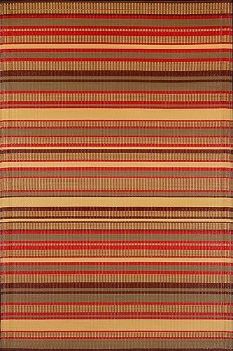 Mad Mats Stripes Indoor Outdoor Floor Mat, 5 by 8-Feet, Warm Brown