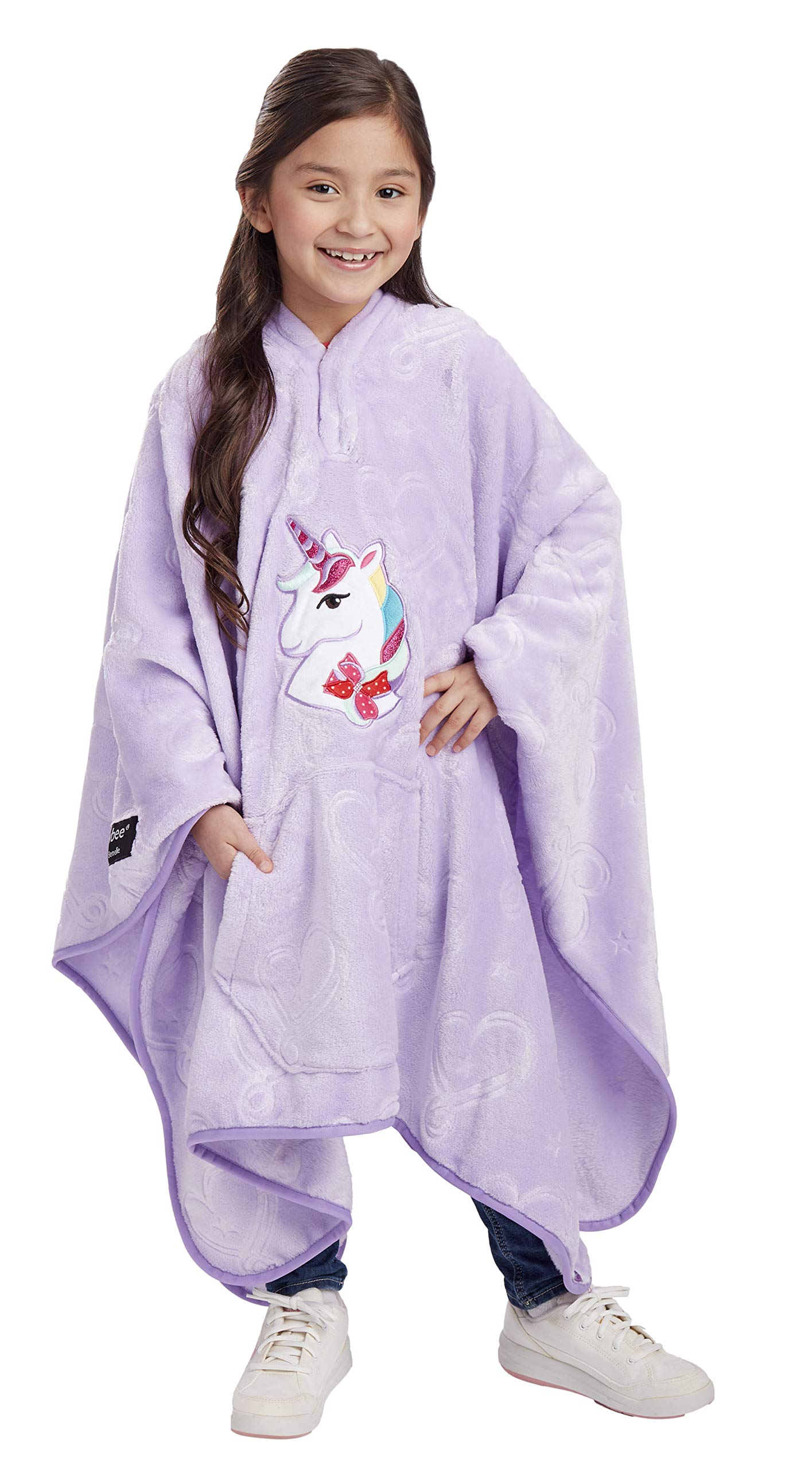 Jay Franco Nickelodeon JoJo Siwa Unicorn Throwbee - 2-in-1 Wearable Kids Plush Throw Blanket Poncho - Fade Resistant Polyester, 50'' x 60'' - (Offical Nickelodeon Product) by Jay Franco