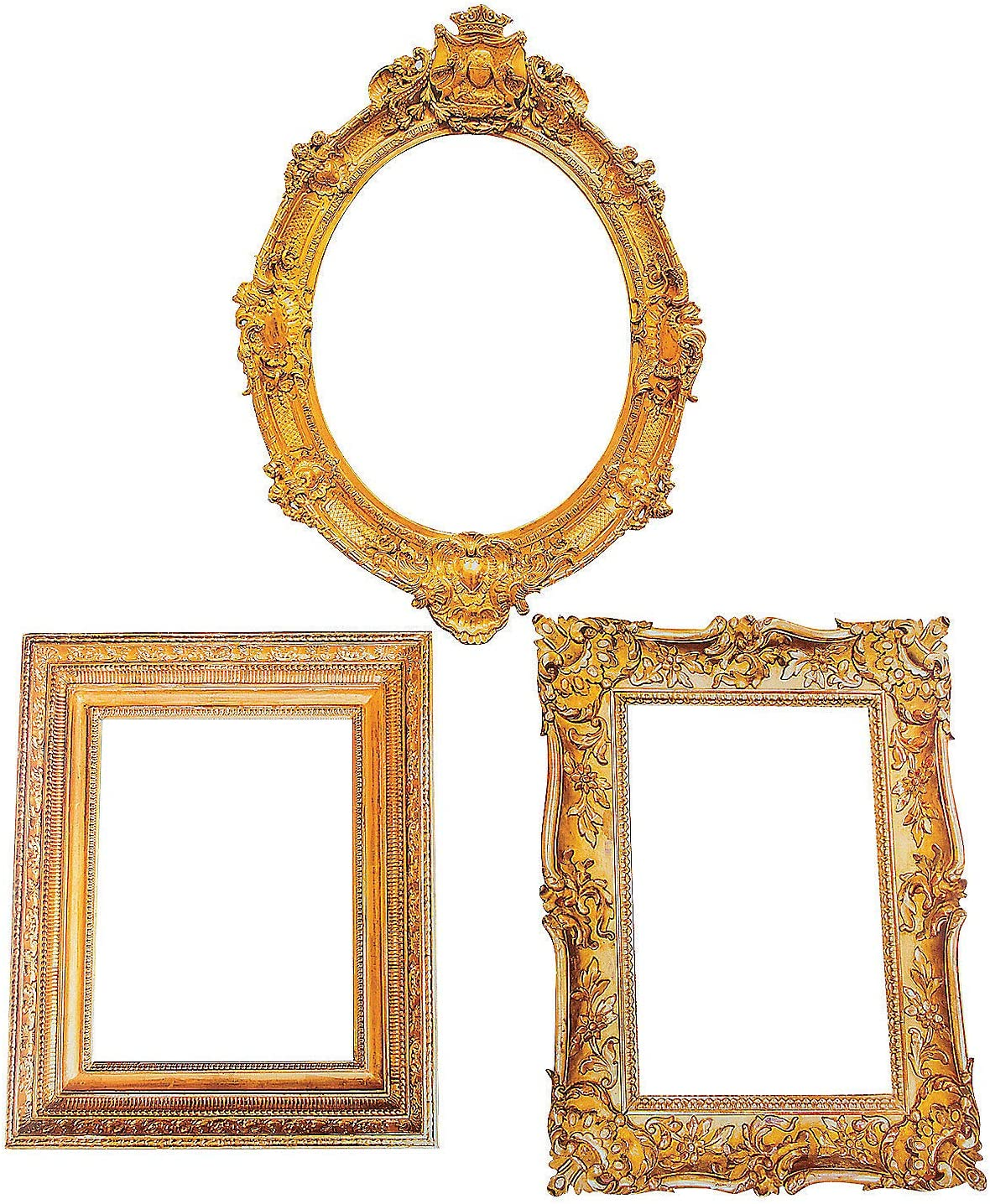 Antique Picture Frame Cutouts (3 Pieces) Perfect for Wedding and Party Decor - Cardboard