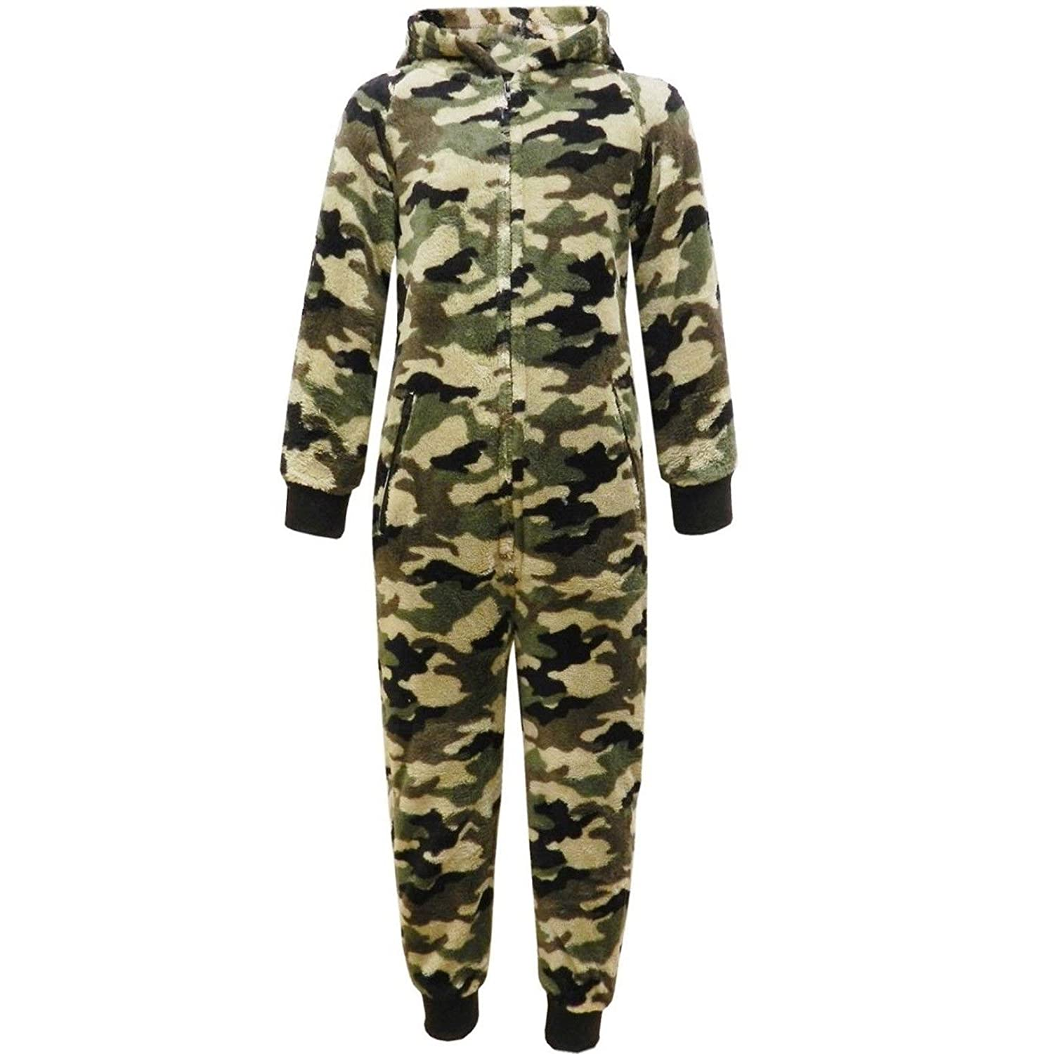 Farstowe Luxurious Super Thick Mens All in Ones Camouflage Onesies Adults Army Print One Piece Jumpsuit Size Medium/Large/X-Large