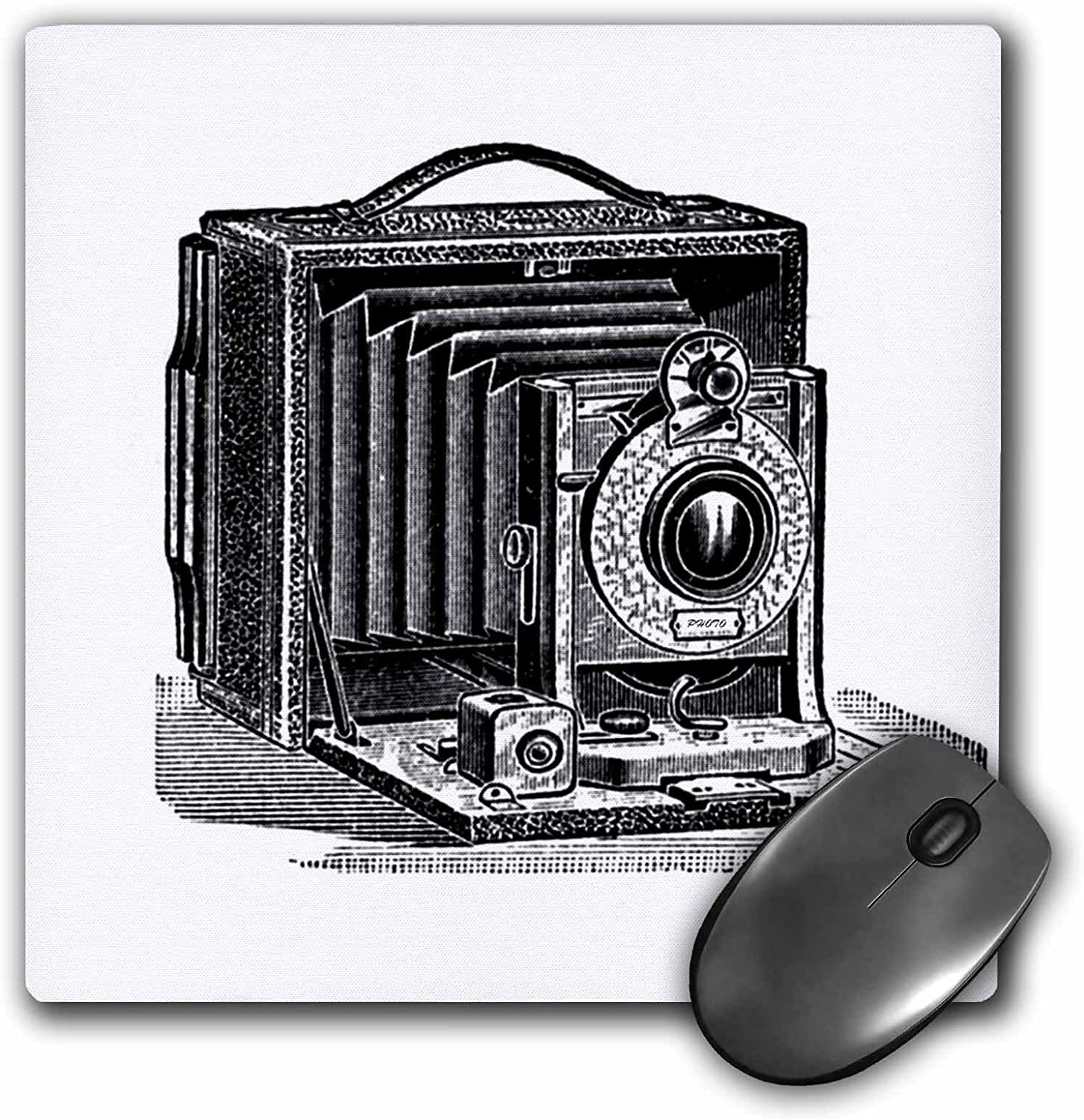 Mouse Pad 3drose Black and White Vintage Camera Ink and Pen Drawing Print Old-Fashioned Photography Photographer