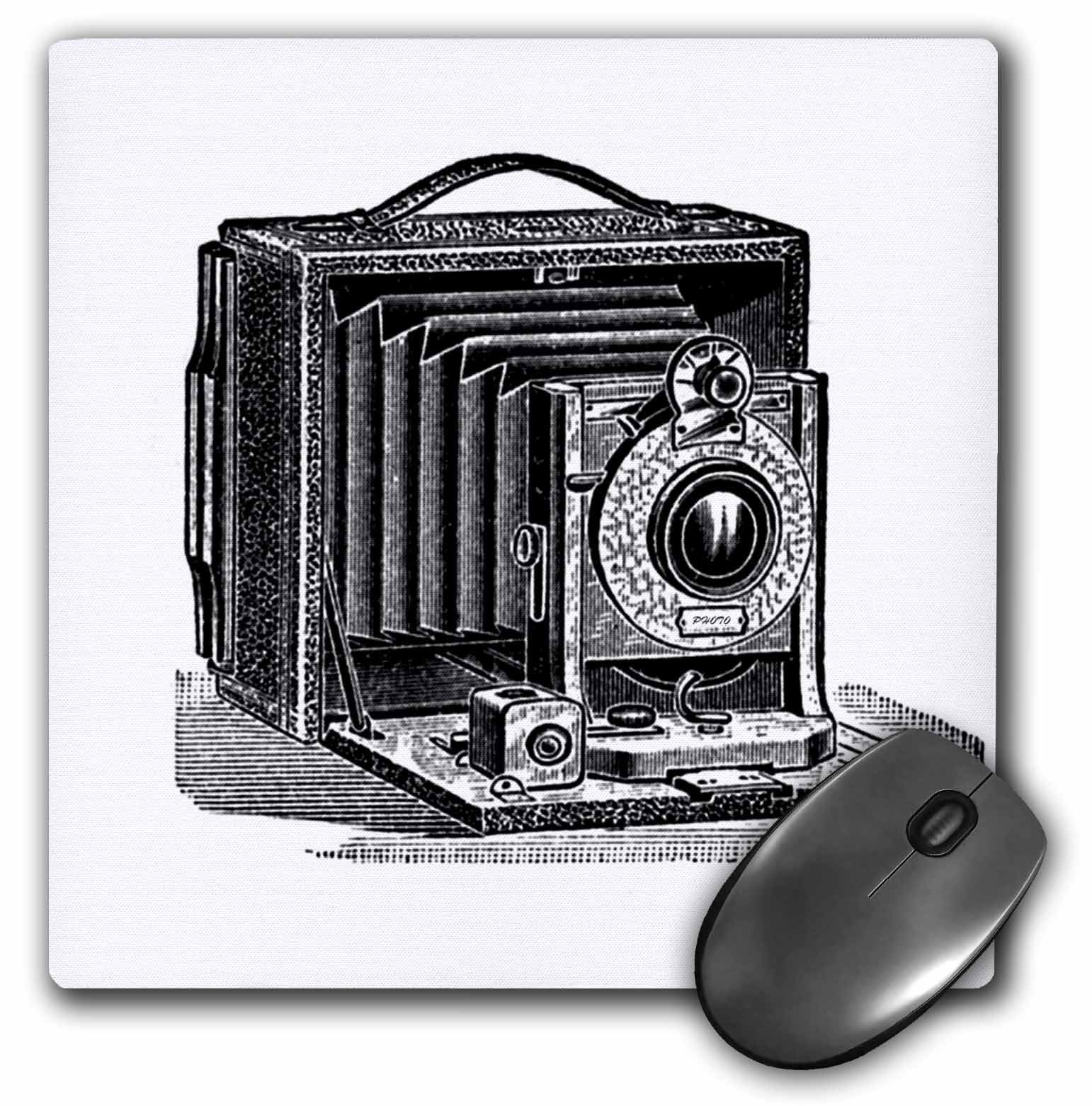 3drose Black and White Vintage Camera Ink and Pen Drawing Print Old-Fashioned Photography Photographer - Mouse Pad