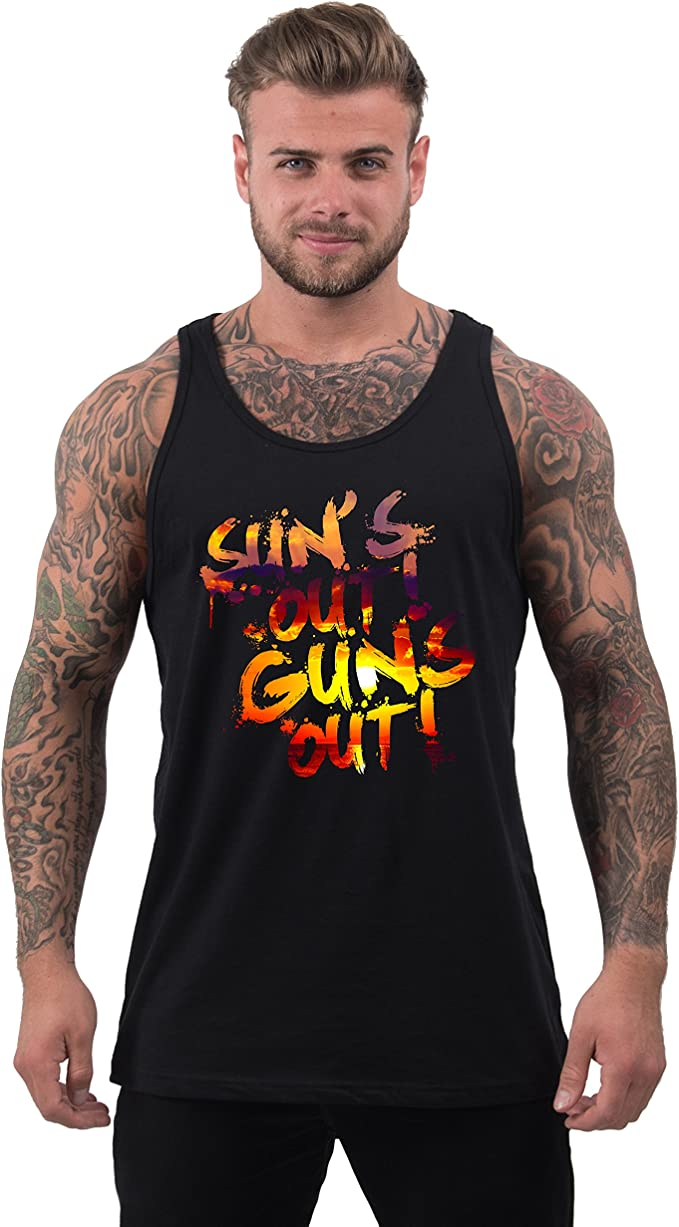 Suns Out Guns Out Mens Holiday Festival Gym Neon Low Cut Vest