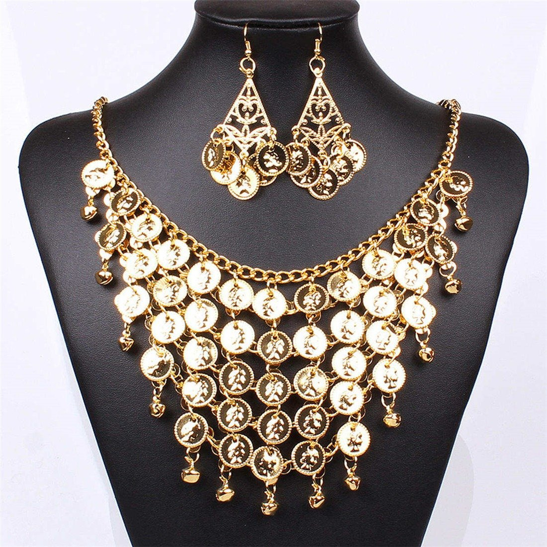 Qiyun Gold Beautiful Earrings Gold Chain Small Bell Bling Necklace Set Or D'Or Cloche Bling Collier W005N1518