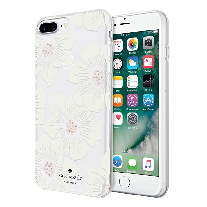 separation shoes 5d911 193a5 kate spade new york Protective Hardshell Case for iPhone 8 Plus, iPhone 7  Plus, iPhone 6s Plus & iPhone 6 Plus - Hollyhock Floral Clear / Cream with  ...
