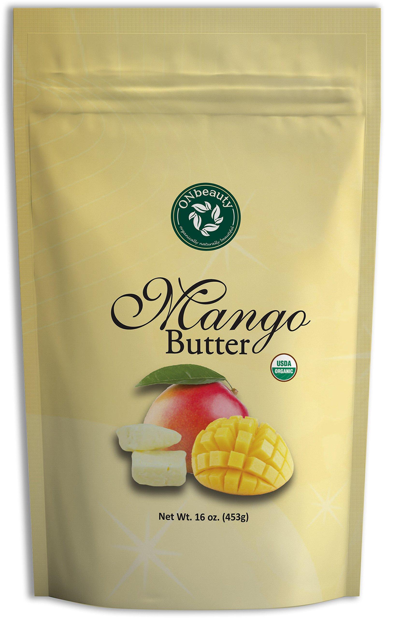 Organic Mango Butter - USDA Certified, Pure, Natural, DIY Skin/Hair Care, Unscented (16 oz)