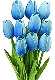 FiveSeasonStuff 10 pezzi Tocco Realistico Tulipani Artificiale Mazzo di Fiori, Ideale per Matrimoni, Sposa, Partito, Casa, Studio Décor Fai da te (Blu)