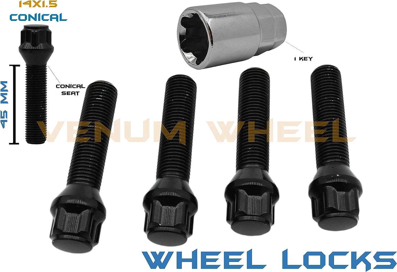 WHEEL LOCK BOLTS LOCKS SET 38mm 14x1.5 BALL seat for VW Audi Mercedes