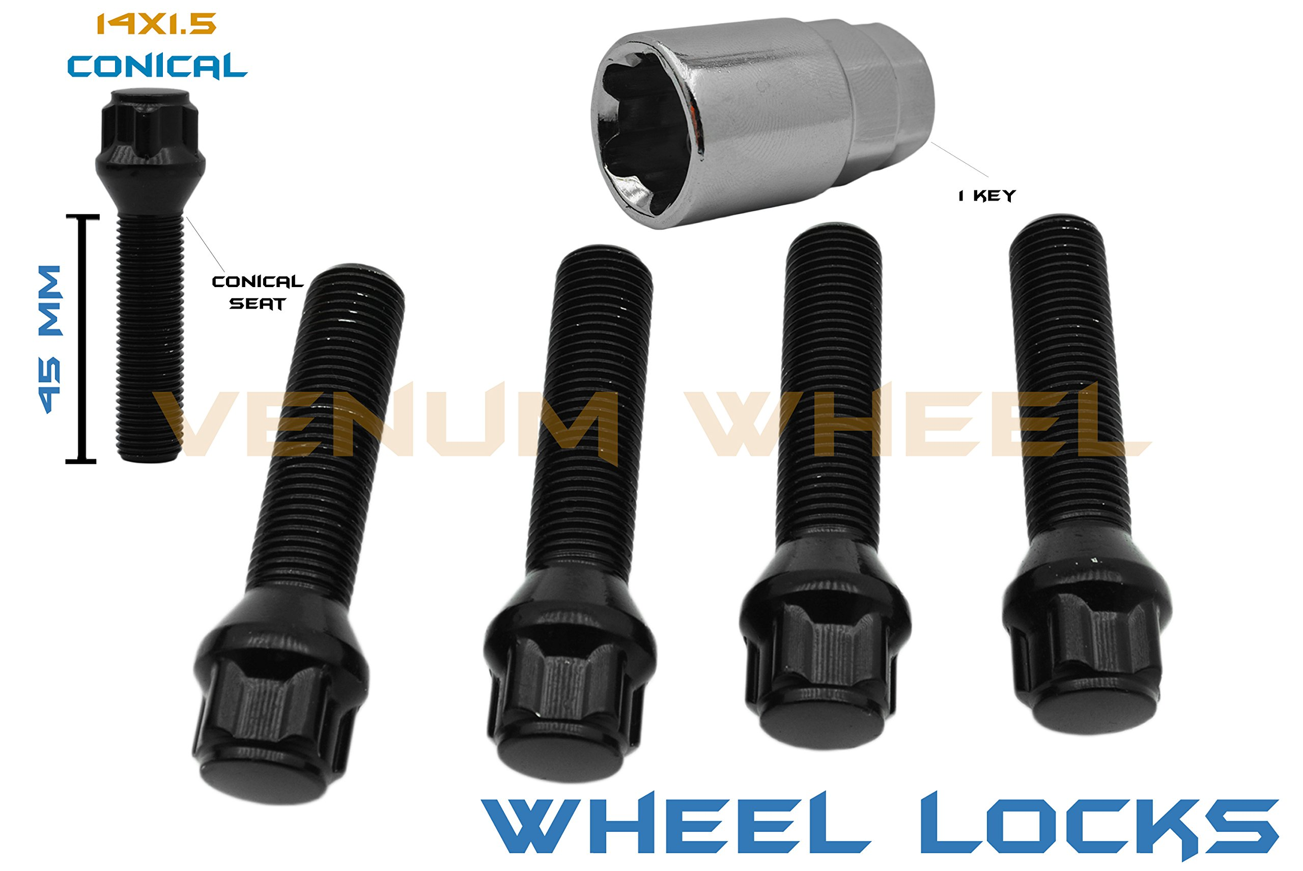 4 Black Wheel Locks 14x1.5 Locking Bolts Lock Steel 45mm Extended Shank Lug Bolts W/1 Key Included Fits Audi Bmw Mercedes Benz Porsche Volkswagen by Venum wheel accessories (Image #1)
