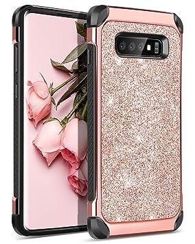 BENTOBEN Funda Samsung S10 Plus, Funda Samsung Galaxy S10+, 2 EN 1 Carcasa Combinada Case Original Purpurina Resistente Dura PC + TPU Silicona ...