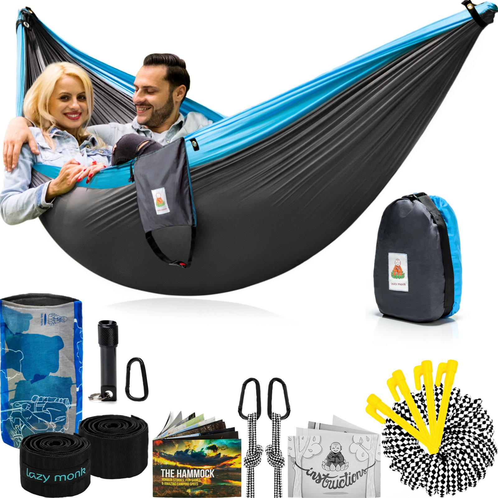 Double Camping Hammock With Straps – UNIQUE 4in1│Complete Fast Setup Hammocks Bundle, Waterproof, Lightweight Parachute Nylon, in Compression Tree Sack Blue by Lazy Monk